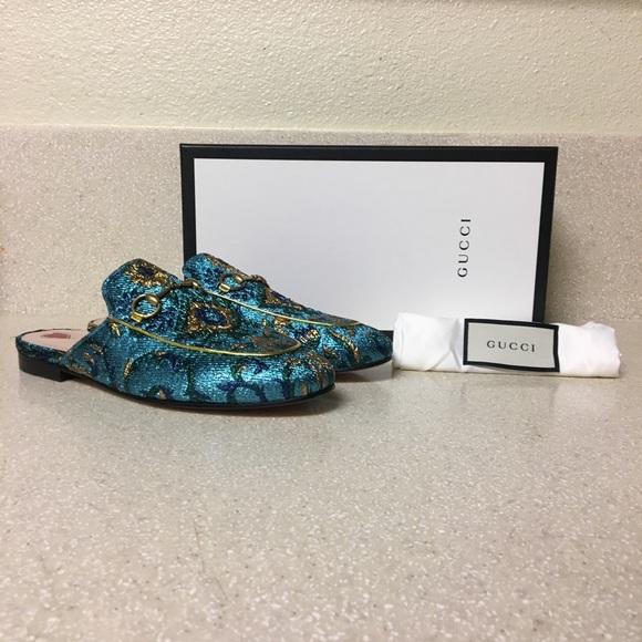 a946a8cfba8 Gucci Princetown Brocade Slipper Mule Size 38.6
